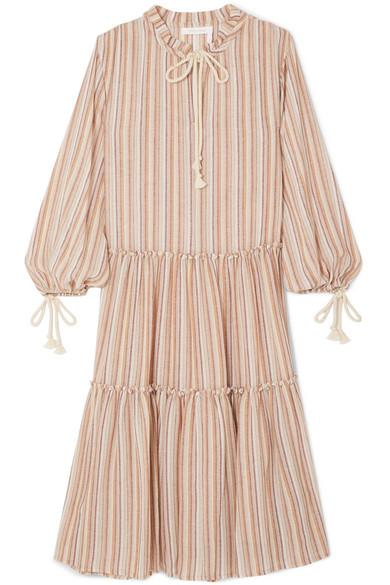 See by Chloé Gestuftes Kleid aus gestreifter Gaze mit Kordeln