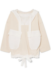 See by Chloé Oversized cotton-blend voile and jersey hooded sweatshirt
