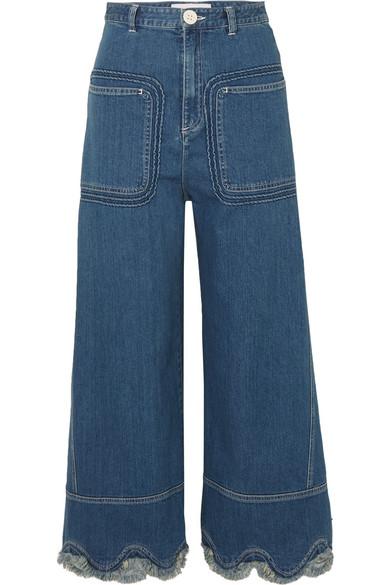 See by Chloé Hoch sitzende Jeans mit weitem Bein und Wellenkante