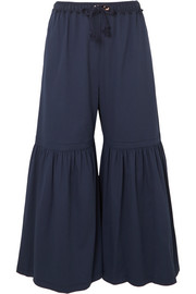 Gathered cropped cotton-blend wide-leg pants