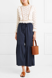 See by Chloé Gathered cropped cotton-blend wide-leg pants