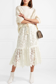 See by Chloé Guipure lace midi skirt