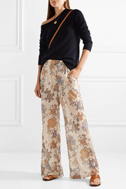 See by Chloé Printed crinkled-chiffon wide-leg pants