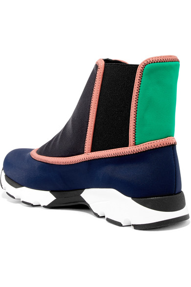 Marni High-top Sneakers-of Neoprene In The Slip-on Design With Color-block-effect