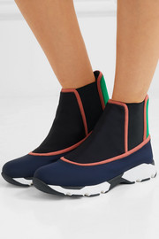 Marni Color-block neoprene slip-on high-top sneakers