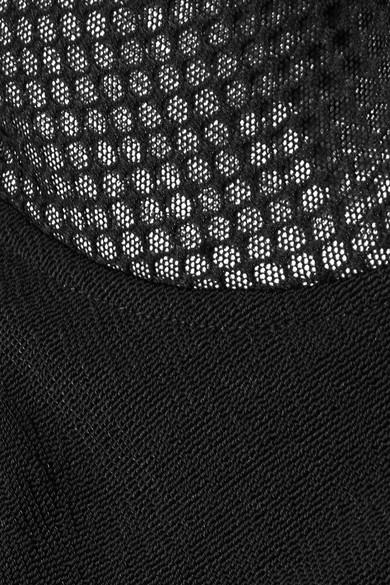 Alexander Wang Gerafftes Kleid aus Stretch-Crêpe mit Einsätzen aus Mesh