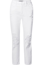 Cult distressed high-rise straight-leg jeans