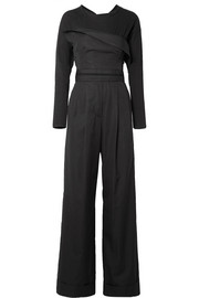 Layered cotton-poplin and jersey jumpsuit