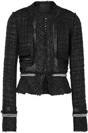 Chain and satin-trimmed metallic tweed jacket