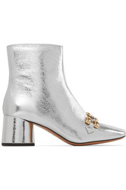 Marc Jacobs Remi chain-trimmed metallic leather ankle boots