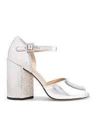Kasia crystal-embellished metallic leather sandals