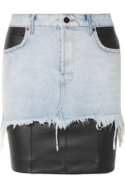 Alexander Wang Layered distressed denim and leather mini skirt