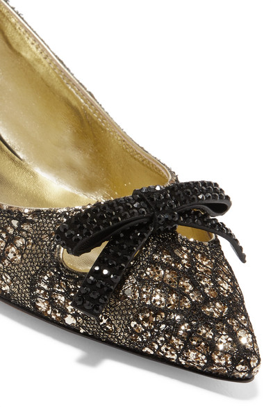 Outlet Shop Discount Shop Offer Marc Jacobs Abbey Crystal-embellished Glittered Brocade Slingback Pumps Mwdf9xDbo