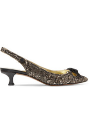 Marc Jacobs Abbey crystal-embellished glittered brocade slingback pumps