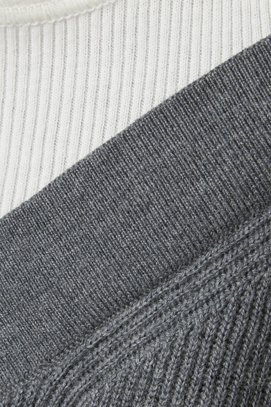 T by Alexander Wang Mehrlagiger Pullover aus einer gerippten Merinowollmischung und Baumwolle mit Cut-outs