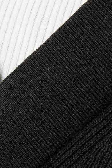 T by Alexander Wang Mehrlagiges Minikleid aus einer gerippten Merinowollmischung und Baumwolle mit Cut-outs