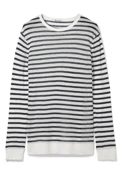 T by Alexander Wang - Striped Jersey Sweater - White