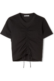 Gathered stretch-cotton jersey T-shirt