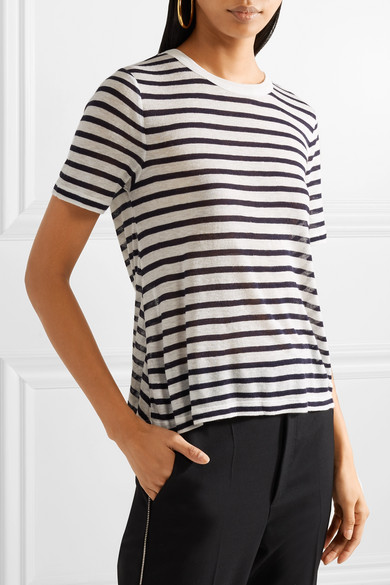 T by Alexander Wang Gestreiftes T-Shirt aus Stretch-Jersey mit Flammgarneffekt und Cut-out