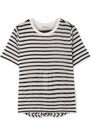 T by Alexander Wang Cutout striped slub stretch-jersey T-shirt