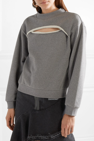 T by Alexander Wang Sweatshirt aus Baumwollfrottee mit Cut-out