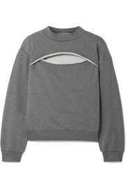 T by Alexander Wang Cutout French cotton-terry sweatshirt