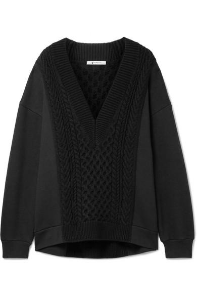 T by Alexander Wang Oversized-Pullover aus einer Baumwollmischung mit Zopfstrickpartie