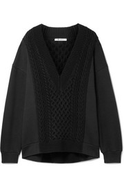 Oversized cable-knit paneled cotton-blend sweater