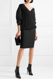 T by Alexander Wang Oversized cable-knit paneled cotton-blend sweater