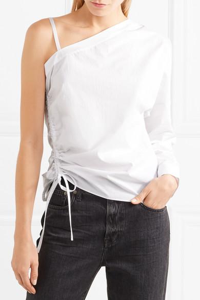 T by Alexander Wang Oberteil aus Baumwollpopeline mit asymmetrischer Schulterpartie