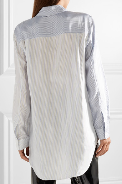T By Alexander Wang Striped Oversized-shirt In Satin