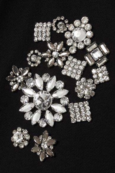 McQ Alexander McQueen Kapuzenoberteil aus Baumwoll-Jersey mit Kristallen