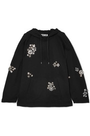 McQ Alexander McQueen Crystal-embellished cotton-jersey hooded top