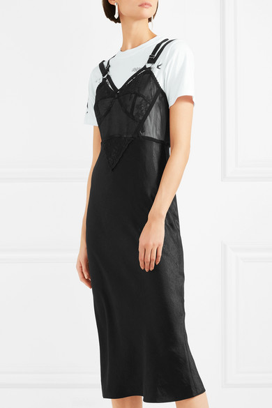 McQ Alexander McQueen Mehrlagiges Kleid aus Satin und Baumwoll-Jersey mit Partien aus Spitze und Tüll