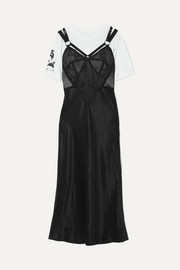 McQ Alexander McQueen Layered lace and tulle-trimmed satin and cotton-jersey dress
