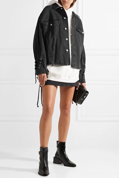 McQ Alexander McQueen Oversized-Jeansjacke mit Schnürung und Fransen