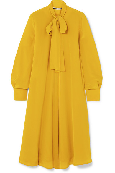 McQ Alexander McQueen - Embellished Pussy-bow Crepe Dress - Mustard