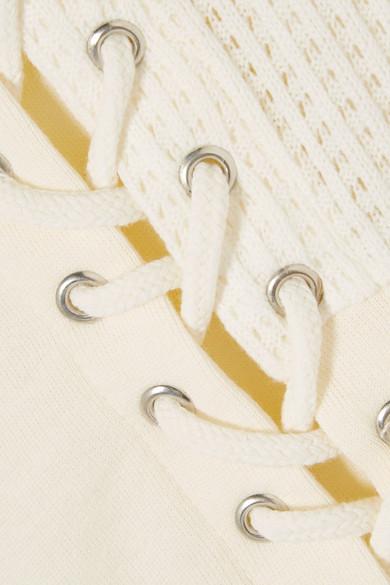 Steckdose In Deutschland McQ Alexander McQueen Kapuzenoberteil aus Baumwolle mit Strickeinsätzen und Schnürung Auslass Original-Verkauf Online fQcC3N