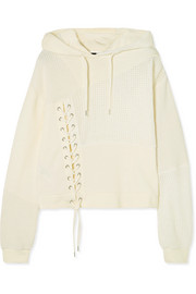 Lace-up knit-paneled cotton hooded top