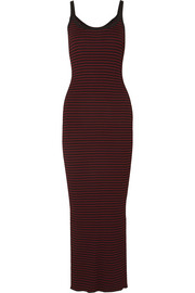 McQ Alexander McQueen Striped ribbed-knit maxi dress