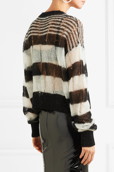 McQ Alexander McQueen Gestreifter Pullover aus einer Mohairmischung in Distressed-Optik