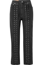 Lace-up high-rise straight-leg jeans