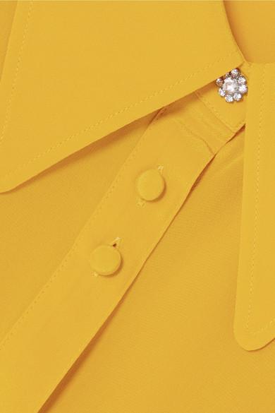 McQ Alexander McQueen Verziertes Seidenhemd aus Crêpe de Chine
