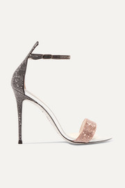 Crystal-embellished satin and leather sandals