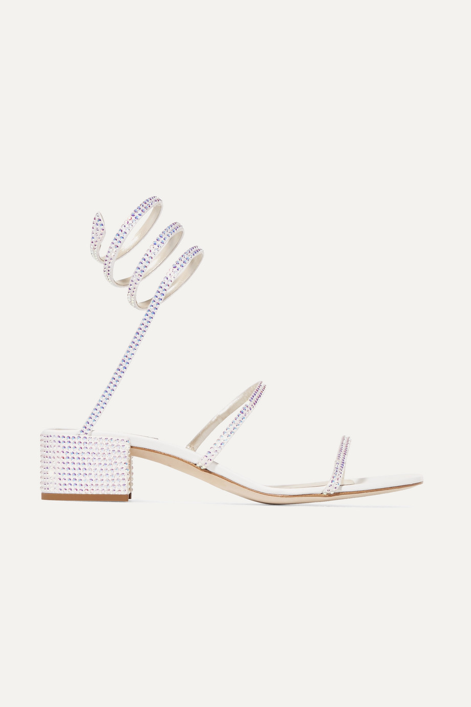 René Caovilla Cleo crystal-embellished satin and leather sandals