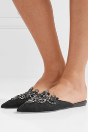 Embellished lace slippers