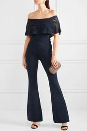 Hervé Léger Off-the-shoulder lace-trimmed bandage jumpsuit
