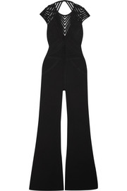 Open-back tulle-paneled bandage jumpsuit