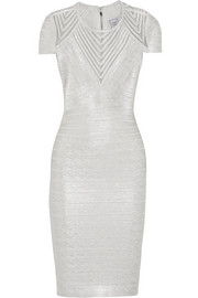 Hervé Léger Tulle-paneled metallic bandage dress
