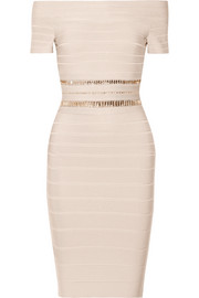 Hervé Léger Marina off-the-shoulder crystal-embellished bandage dress